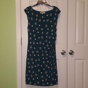 LOFT Teal Sleeveless Floral Dress - Size L
